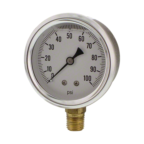 "2-1/2"" Glycerin Filled Pressure Gauge 0-100 psi"