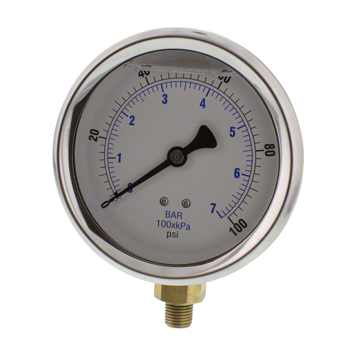 "4"" Glycerin Filled Pressure Gauge 0-100 psi"