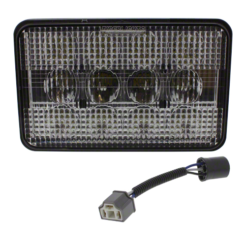 4 in. x 6 in. rectangle LED Hi/Low Beam. 3500 lumens, 5 amps. Fits John Deere tractors. Replaces John Deere No RE65222