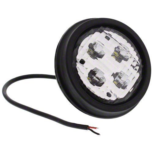 4 in. round trapezoid LED with housing, 1/2 in. rear stud mount. Single beam, 2800 lumens, 3.3 amps. Replaces John Deere No's RE19080, AR612989