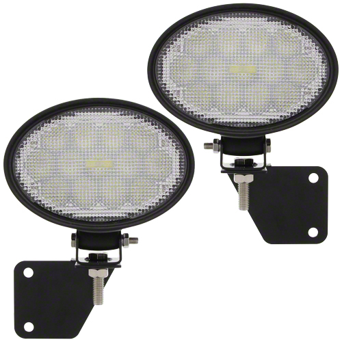 LED flood lamp kit. Each lamp 4.5 in. x 6.5 in. oval, 5,000 lumens, 5 amps. Kit includes 2 lamps, mounting brackets, wiring harness.